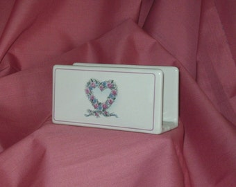 Napkin Holder or Mail Holder in Pottery Hearts in Pink and Blue