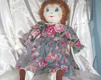 Huggable Vintage Curly-haired Cloth Rag Doll, 21 in.