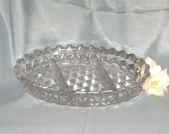 Fostoria American 3-Part Divided Relish Serving Bowl