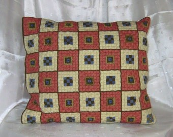 Needlepoint Decorator Pillow Case in Earth Tones