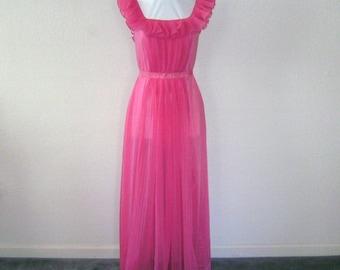 1950s Vintage Nightgown in Hot Pink by Vanity Fair