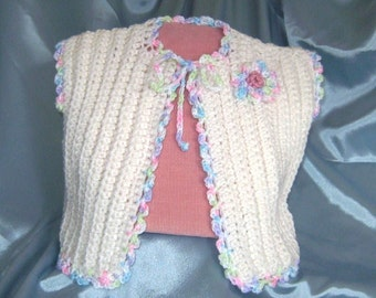 Baby Saque Jacket, Crocheted, OOAK