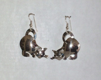 Dangle Kitty Cat Earrings Handcrafted in Sterling Silver