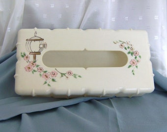 Vintage Kleenex Box Cover Hand-Painted In Pink and White