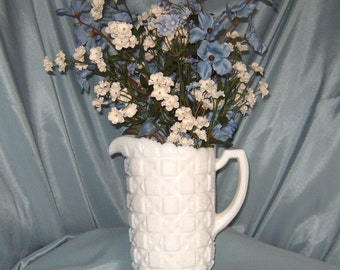 "Rich, Vintage Milk Glass Ice Tea & Lemonade Pitcher ""Old Quilt"" Pattern by Westmoreland Glass Company"