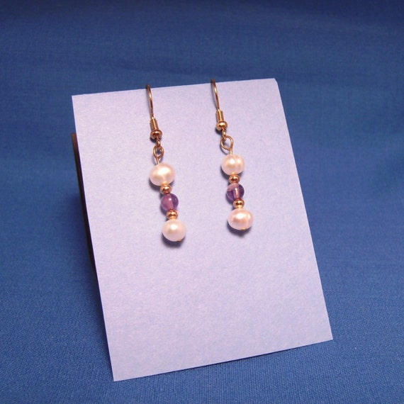 Pierced Dangle Earrings with Amethyst and Fresh Water Pearls
