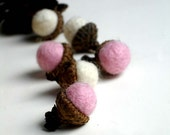 6 Felted Brown And Pink Wool Acorns