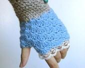 Fingerless Gloves - Blue / Gray