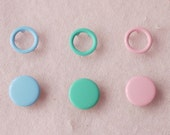 100 sets, Pastel Shade (3 Colors) Capped and Open Prong Snap Button Set 3, Size 16L/15L (10/9 mm)