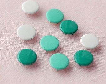 50 sets, Dark Cyan, Sweet Green, White Capped Prong Snap Button, Size 14L (8.5 mm)