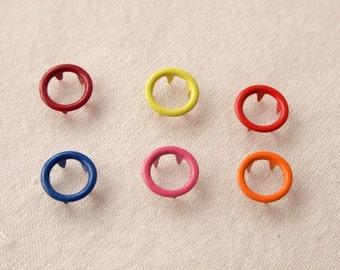 50 sets, Mixed Colors (6 colors) Open Prong Snap Button Set 4, Size 17L (10 mm)