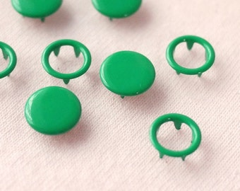 50 sets, Green (XM53) Capped and Open Prong Snap Button, Size 18L/17L (11.3/10 mm)
