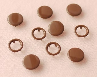 50 sets, Brown Capped and Open Prong Snap Button, Size 18L/17L (11.3/10 mm)