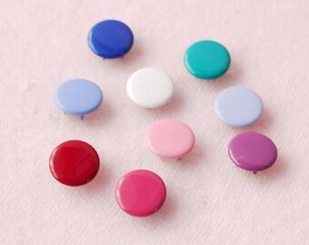 100 sets, Mixed Colors (9 colors) Capped Prong Snap Button, Size 18L (11.3 mm)
