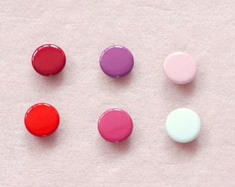 100 sets, Red, Pink, Purple Shade (6 colors) Capped Prong Snap Button Set 1, Size 18L (11.3 mm)