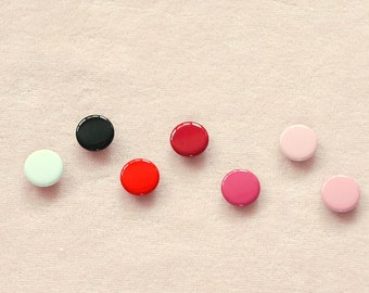 100 sets, Red, Pink, Black & White Shade (7 colors) Capped Prong Snap Button, Size 14L (8.5 mm)