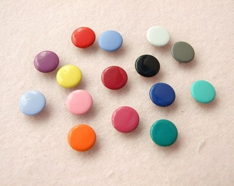 100 sets, Mixed Colors (15 colors) Capped Prong Snap Button, Size 14L (8.5 mm)