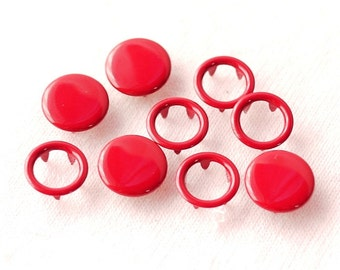 50 sets, Cherry Red (XM18) Capped and Open Prong Snap Button, Size 16L/15L (10/9 mm)