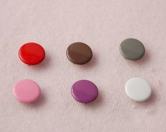 50 sets, Mixed Colors (6 colors) Capped Prong Snap Button Set 8, Size 14L (8.5 mm)