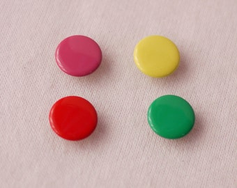 100 sets, Mixed Color (4 Colors) Capped Prong Snap Button Set 3, Size 16L (10 mm)