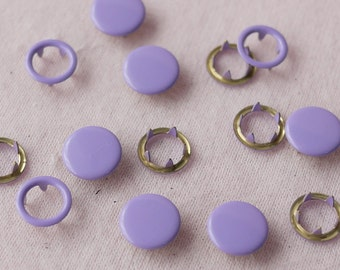 50 sets, Light Purple Capped and Open Prong Snap Button, Size 16L/15L (10/9 mm)
