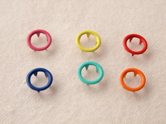 50 sets, Mixed Colors (6 colors) Open Prong Snap Button Set 5, Size 17L (10 mm)