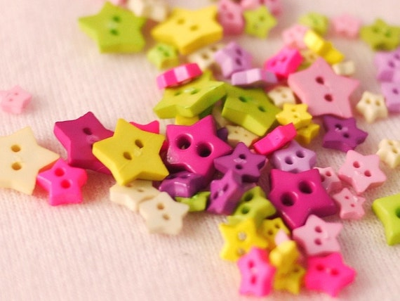 100 pcs Tiny star buttons in assorted size and color - Set 1