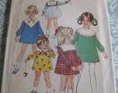 Vintage Simplicity Sewing Pattern 8474 Child's Dress with Detachable Collars..size 1..breast 20..dated 1969