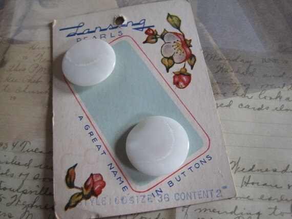 2 Vintage Mother of Pearl Buttons on Button Card..Lansing Pearls