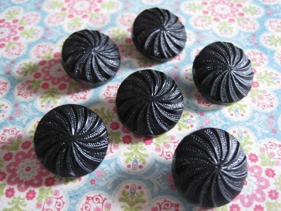 6 Plastic Vintage Black Shank Buttons