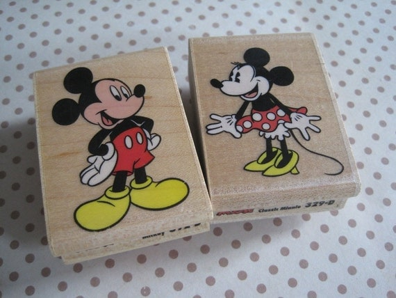 Mickey and Minnie Mouse Rubber Stamps