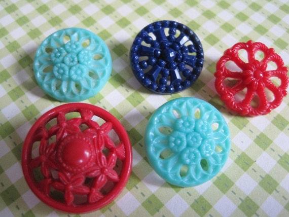 5 Assorted Vintage Pierced Plastic Buttons