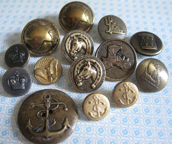 14 Assorted Vintage Gold and Bronze Looking Metal and Plastic Shank Buttons