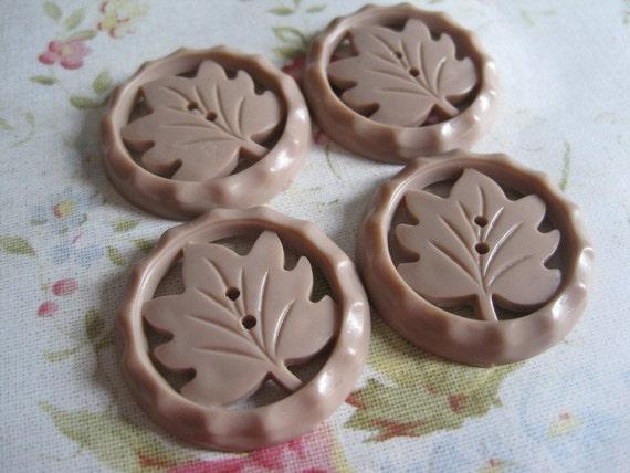 4 Vintage Tan Leaf Pierced Plastic Buttons
