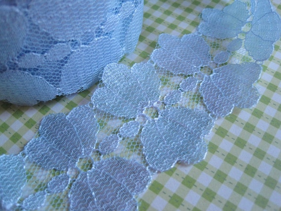 2 1/2 Yards of Vintage Very Pale Purplish Ice Blue Lace Sewing or Crafting Trim