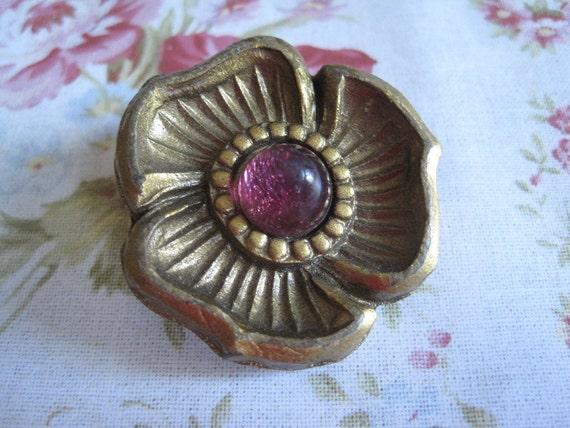 Large Vintage Golden Flower Button with Magenta Pink Center...metal shank