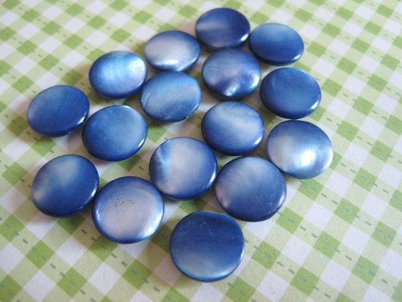 15 Vintage Dyed Blue Mother of Pearl Self Shank Buttons