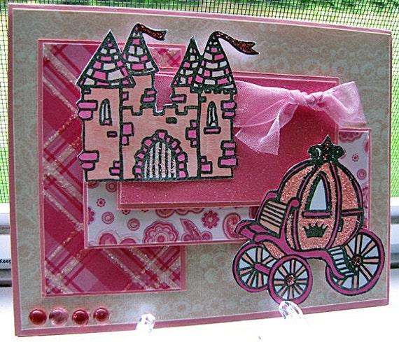birthday card little girl pink castle princess