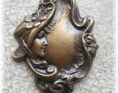 2 Victorian Lady Head Floral Hat Brass Charm
