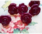 Set of 12 Vintage Red Realistic Flower Buttons
