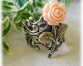 the petite peach  rose ring.