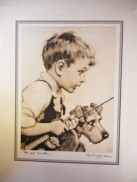 Vintage J Knowles Hare Lithograph Print Boy Dog Fishing