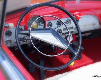 Vintage Red Interior Ford with Dice Shifter, Photo Insert Note Card