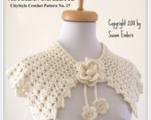 Crochet Pattern Capelet Shawl with Rose and Flower Blossom Tie - Easy Crochet Pattern - INSTANT DOWNLOAD