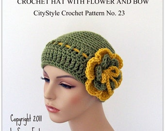 Crochet Hat Pattern with Flower and Bow - Women and Teens - Easy Crochet Pattern - INSTANT DOWNLOAD