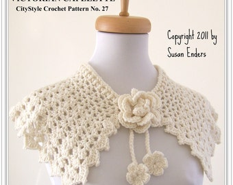 Crochet Pattern Capelet Shawl with Rose and Flower Blossom Tie - Easy Crochet Pattern - Bridal, Wedding, Prom