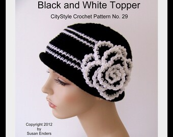 Crochet Pattern, Crochet Hat Pattern, Black and White Topper, Rolled Brim, Rose Flower Applique, Fall, Winter Accessories, INSTANT DOWNLOAD