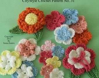 Crochet Flower Applique Pattern, Crochet Flowers, Crochet Leaf Pattern, Use for Hair Clips, Scrapbooking, Home Decor, Jewelry