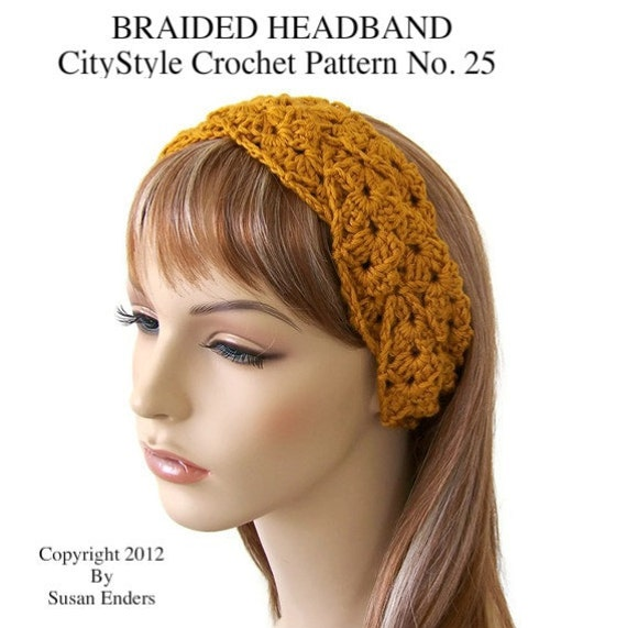 Free Crochet Braided Ear Warmer Pattern : Crochet Pattern Braided Headband Earwarmer Pretty by CityStyle