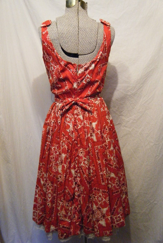 Life is a Picnic vintage 1950s Red Bandana print semi full skirt Cotton Sun dress with Belt and Bows Large